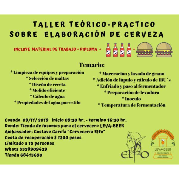 TALLER DE ELABORACIÓN DE CERVEZA 09 DE NOV 2019